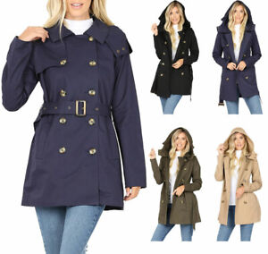 She Sky Womens Lightweight Hooded Trench Coat or Windbreaker with Tie Waist