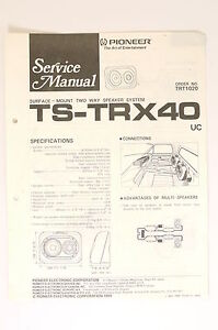 Pioneer Ts-trx40 2 Way Speaker System Original Service-manual/schaltplan O66 Tv, Video & Audio