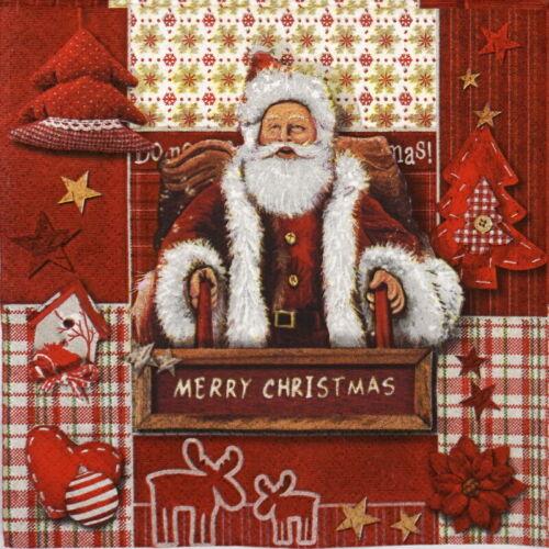 Papel 4x Servilletas Para Decoupage Artesanales Y Fiesta-Rojo Navidad Collage