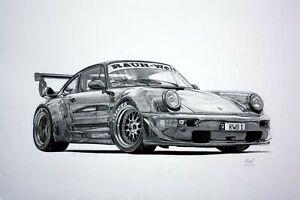 Iconic Arts Laminated 36x24 Poster: RWB Porsche 964