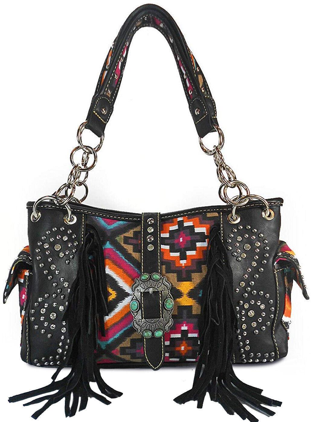 Montana West Aztec & Fringe Shoulder Bag w/ Side Pockets