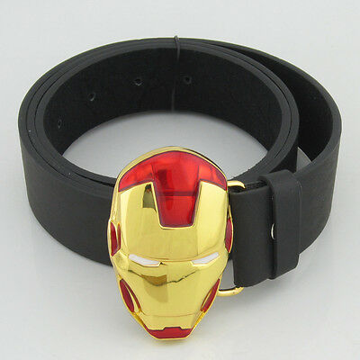 Western New Marvel Iron Man Superhero Gold Red Mens Metal Belt buckle Costume