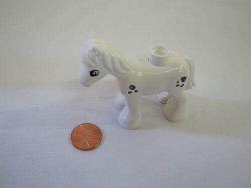 Lego Duplo WHITE HORSE SPOTTED Black Spots Animal for FARM FARMER Colt for Barn