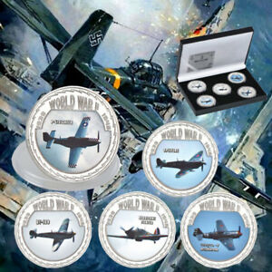 WR-World-War-II-Fighter-Planes-Aeroplanes-Silver-Coin-Medal-Set-Kid-Boy-Gift-Box