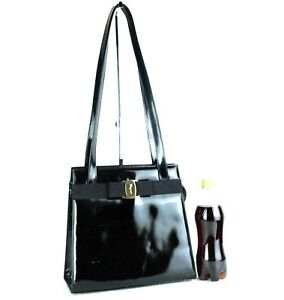 977072e05e Image is loading Auth-SALVATORE-FERRAGAMO-VARA-Shoulder-Bag-Black-Patent-