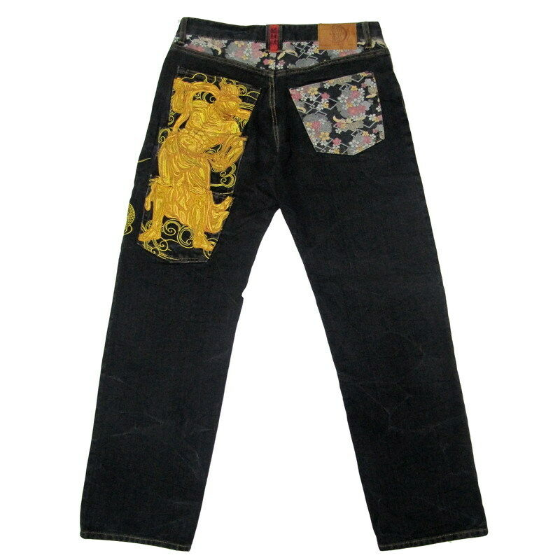 Mens Jeans Japanese Pattern Embroidery Denim Buddha's Warrior Attendant Dragon