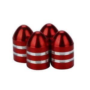 Lot-de-4-bouchons-de-valve-en-aluminium-balle-munition-rouge-Auto-Moto-Velo