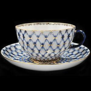 Tea-Cup-amp-Saucer-Lomonosov-Porcelain-Tulip-Grid-Cobalt-IFZ-Russia