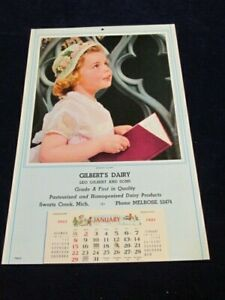 Vtg 1961 Calendar Gilbert's Dairy Swartz Creek MI Unused Girl in Sunday Best S93