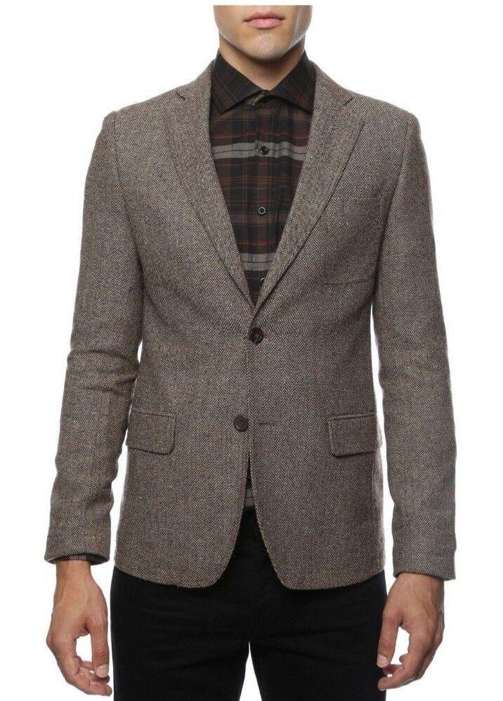 Herren Braun Herringbone Blazer Fall Collection Farbe TUXXMAN Super Slim Fit New