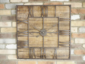 Pareti In Legno Shabby : Large 70cm square clock wall mountable shabby chic wooden industrial