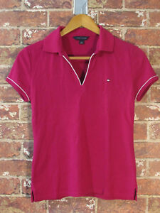 Tommy-Hilfiger-Polo-Shirt-S-Cotton-Baumwolle-Rot-Pink-Logo