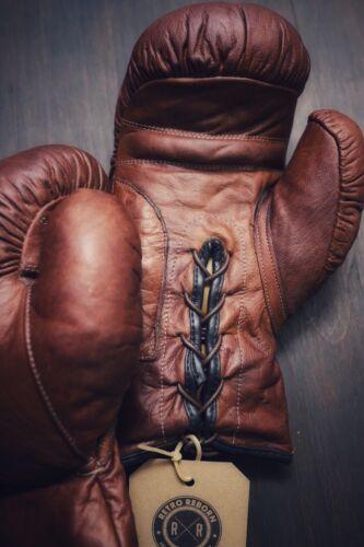 Rétro REBORN vintage marron clair en cuir Gants de boxe Homme Cave Home Interior