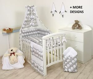 BABY-BEDDING-SET-COT-COT-BED-3-5-9-Pieces-PILLOW-DUVET-COVER-BUMPER-CANOPY-more