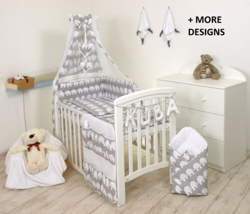 BLUE-GREY STARS// GREY BACK BABY BEDDING SET COT or COT BED  3,4,5,7,8,9 PC+MORE