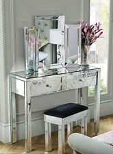 Venetian Mirrored Dressing Table Triple folding dressing mirror & Stool Set