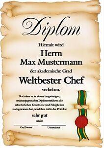 Diplom Chef Chefin Vorgesetzter Beruf Auszeichnung Urkunde