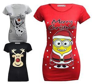 1ec7b35db La imagen se está cargando Nuevo-Manga-Corta-Para-Mujer-Navidad-Estampado- Camisetas-