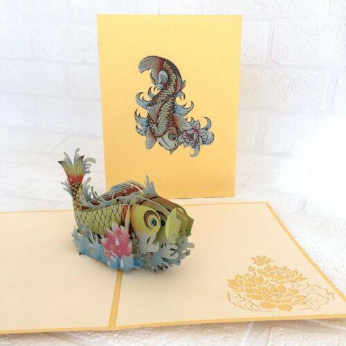 Handmade Yellow Japanese Koi Fish 3D Pop Up Greeting Xmas Card For Kids Mum Dad