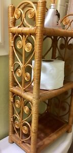 Vintage-Wicker-Rattan-Shelf-Wall-Mount-Free-Standing-Hanging-23-034-3-Tier-NICE