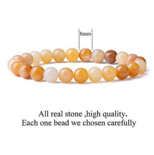 8 mm naturel multicolore jaune topaze Healing Crystal stretch perles Bracelet