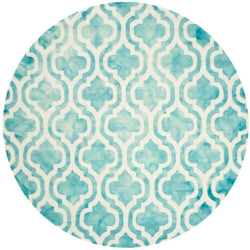 X 7 Ft Dip Dye Turquoise//Ivory 7 Ft Round Area Rug