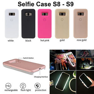 buy popular 5eaf1 af3e7 Details about Selfie Case Cover LED Light Up Bright Flashlight For Samsung  Galaxy S8 S9 Plus
