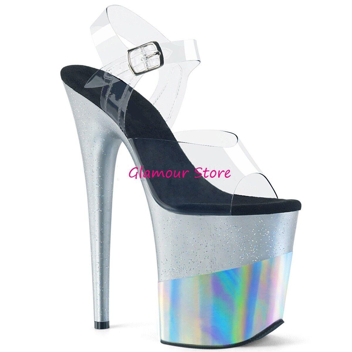 Sexy Sexy Sexy SANDALI GLITTER tacco 20 plata TRASPARENTE dal 35 al 40 plateau zapatos b1fc40