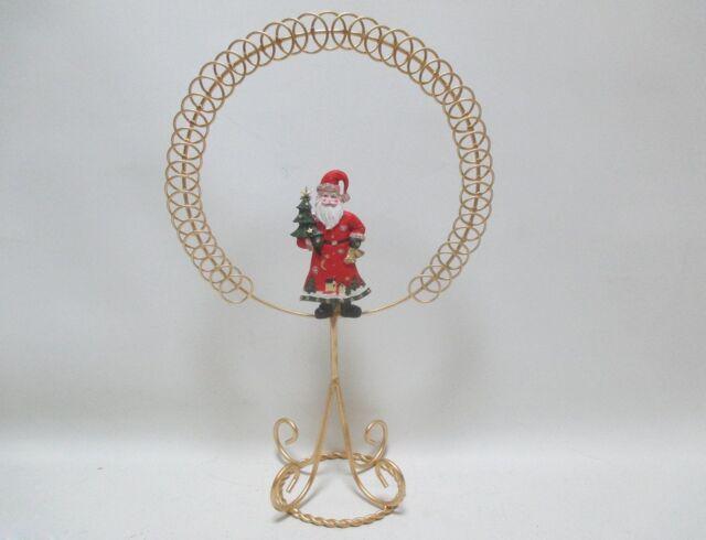 46cm gold santa standing metal christmas card holder