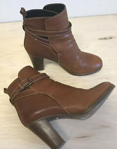 J-Crew-Ankle-Booties-Buckle-Brown-Leather-Heels-Made-in-Italy-Women-sz-7-Exc