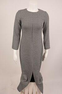 52c4abed Zara Women Dress MIDI XS Plaid Houndstooth Black White Pencil Shift ...