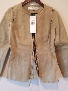 GARFIELD-amp-MARKS-TAN-KHAKI-HAND-TOOLED-LEATHER-JACKET-SZ-0-NWT-440-BRAND-NEW