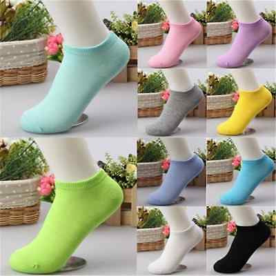 Lot Cut 10 Pairs Ladies Boat Short Cotton New Women Ankle Socks Gift Pink Blue