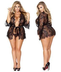 1cfaa83e575 Hot Sexy Night Robe Dress Lingerie Sheer See Through Long Sleeve ...