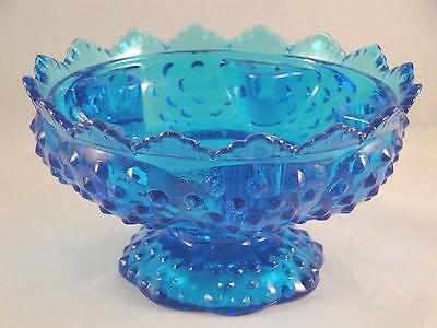 FENTON Art Glass Candle Holder Blue Hobnail Bowl Compote Scalloped Centerpiece