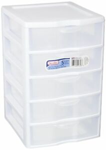 1) Sterilite 20758004 Clearview Small 5 Drawer Desktop Storage Unit White  sc 1 st  eBay & 1) Sterilite 20758004 Clearview Small 5 Drawer Desktop Storage Unit ...