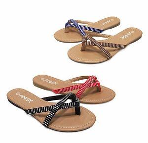 1be681e7c203 Women s Cute Summer Flip Flops Rhinestone Embellished Strappy Thong ...