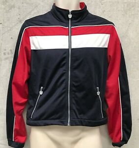 Vintage PUMA ZIP UP TRACKSUIT TOP SWEATER JUMPER NAVY RED & WHITE XS