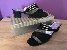 Women's Black Wallis Shoes. EUR Size 41, Sandal, Block Heel, Silver Buckle.