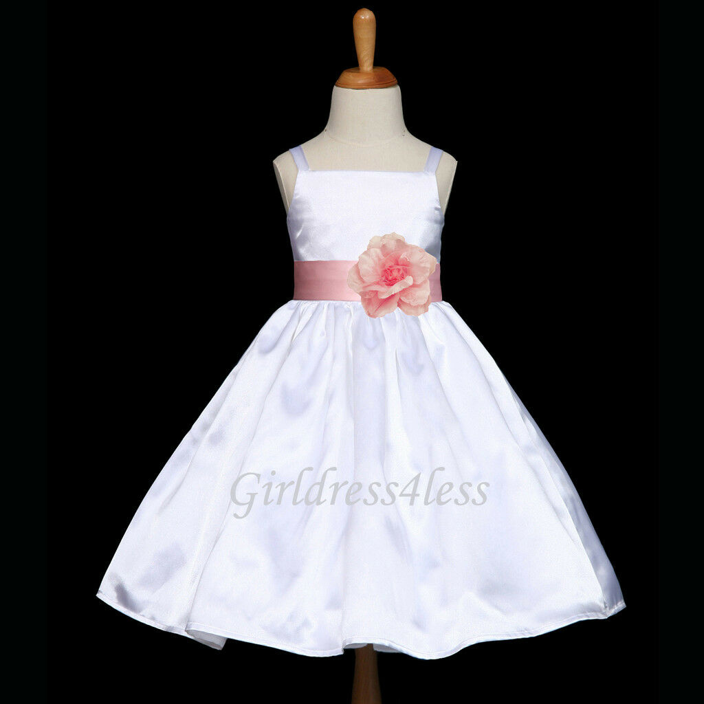 WHITE/PINK BABY SPAGHETTI STRAPS WEDDING FLOWER GIRL DRESS 12M 2/2T 4 6 8 10 12