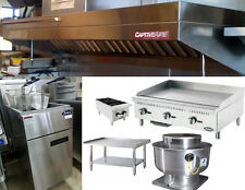 6FT Food Truck Exhaust Hood w/ Propane Hotplate,  2' Griddle, Stand and Fryer