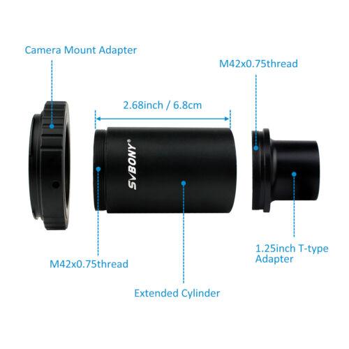 Svbony 1,25 Inch T-Mount adaptador /& t2 ring para Canon adaptador para telescopio//DSLR de