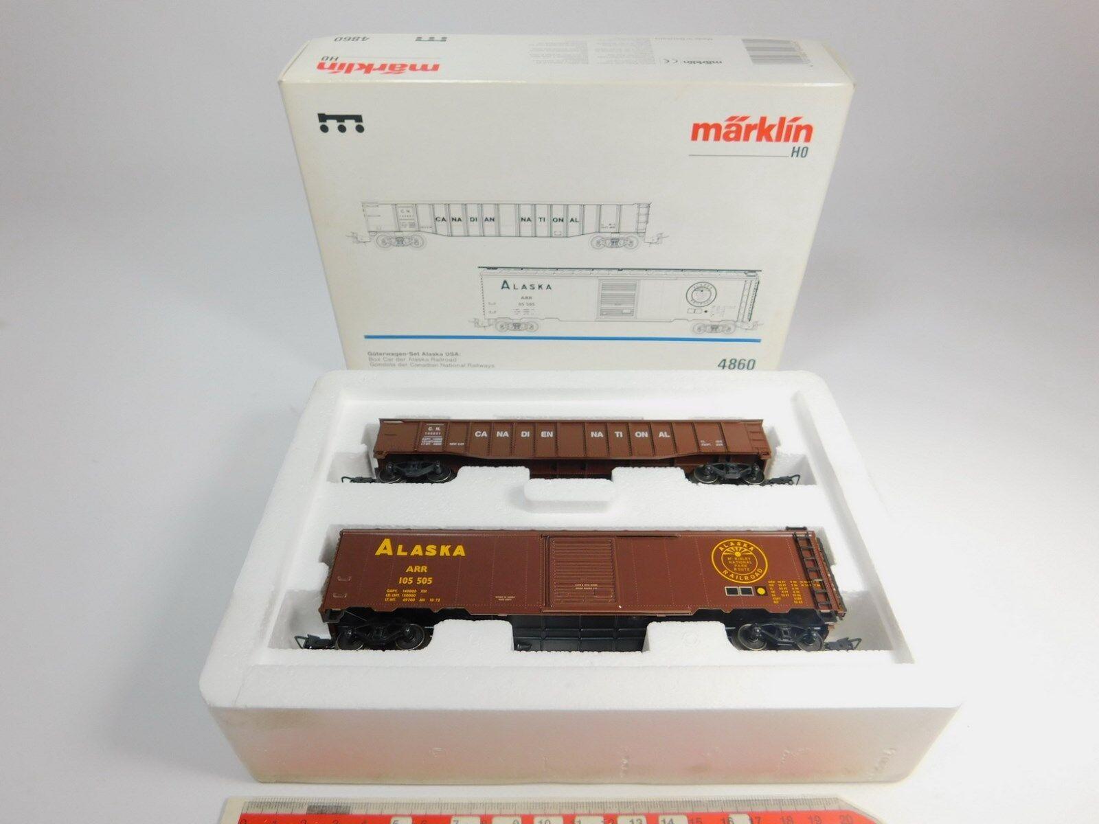 AQ506-1  Märklin H0 AC 4860 US-Güterwagen-Set Alaska  Gondola+Box Car NEUW+OVP