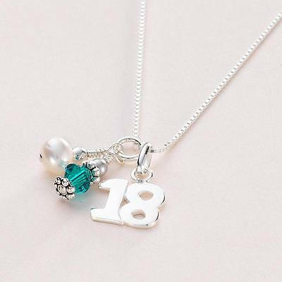 Gift for 18th Birthday Sterling Silver Birthstone Necklace 18 Pendant.