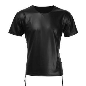 Herren-Tank-Top-T-Shirt-schwarz-Wetlook-Shirt-Unterhemd-Muskelshirt-Nachtwaesche