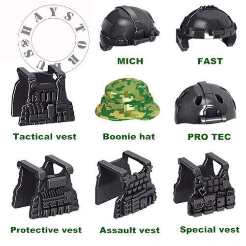 8pc Custom Helmet /& Vest WW2 Military SWAT Police Lot for Mini Figures!