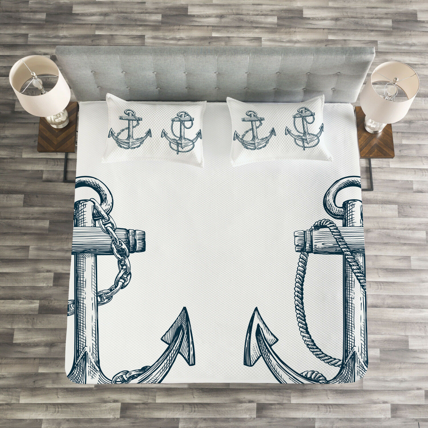 Anchor Quilted Bedspread & Pillow Shams Set, Vintage Sketch of Anchor Print