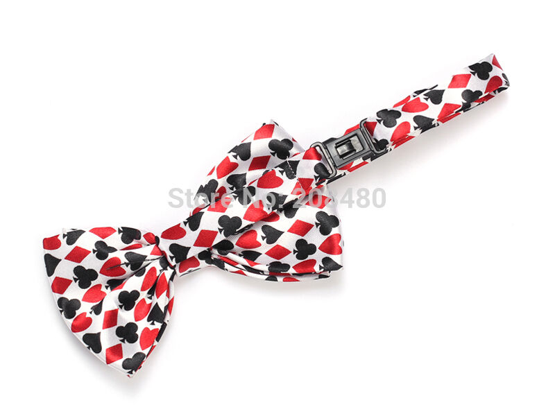Unisex Playing Card Symbol Pattern Poker Novelty Bow Tie - Brand New