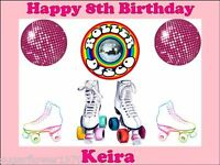Personalised Roller Disco Birthday Party Edible Icing Cake Topper Rectangle