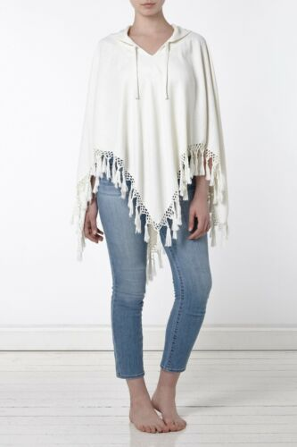 Women/'s Organic Linen Cotton Poncho Fringe Hooded Handwoven Off-White